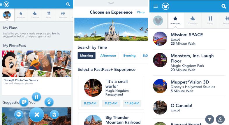 Telas do My Disney Experience, incluindo a seleção do agendamento do FastPass+