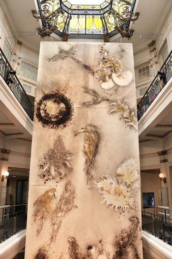 Obra de Cai Guo-Qiang feita com pólvora exposta no CCBB-SP