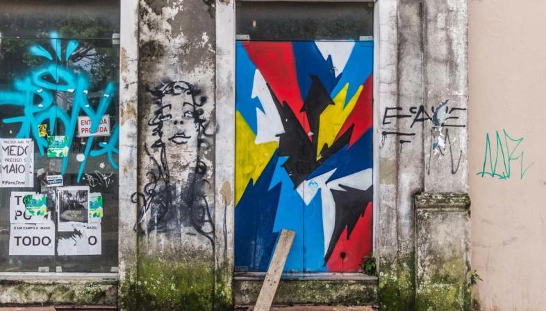 A arte de rua marca presença no centro de Florianópolis
