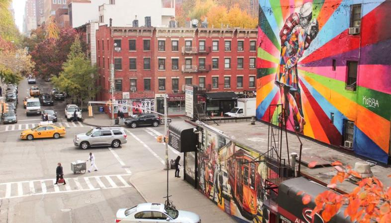 Grafite do artista Kobra visto do High Line em Nova York