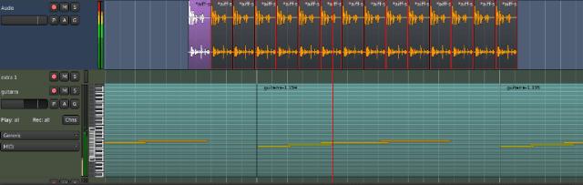 Dos pistas en Ardour: midi y audio