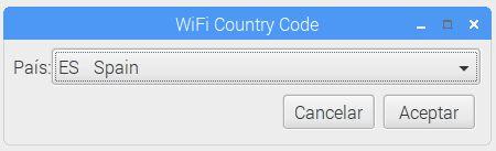 Opciones de configuración pais wifi raspbian