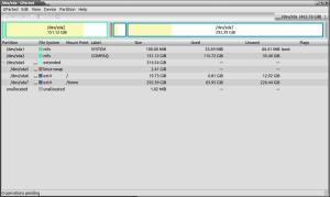Captura de pantalla de la aplicación GParted.