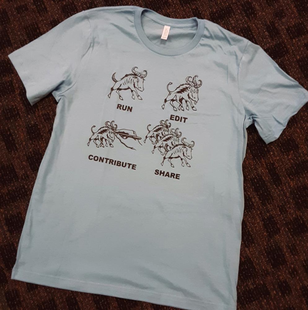 """Camiseta con cuatro ñúes, uno sencillo donde se lee """"Run"""" (ejecutar), otro, diferente, """"Edit"""" (editar), otro que está siendo dibujado por una mano, """"Contribute"""" (contribuir) y el último, """"Share"""" (compartir), donde se ven varios ñúes."""