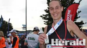 Great Ocean Road Marathon winner Alex Matthews ran a personal best time to claim his first win at the event yesterday. Matthews beat around 1300 other competitors.