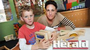 Colac mother Simone Hay is concerned four-year-old kinder hours will drop to 10 a week. She says her son Jed has benefited from 15 hours a week of kinder education.