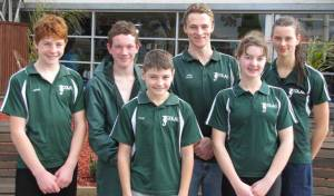 Colac Swimming Club members, from left, Jason Milenkovic, James Hurren, Tyler Milenkovic, Josh Hansen, Andrea Towers and Joanne Towers impressed at an annual short course meet at Geelong. The club will compete in a Ballarat Top Five series this weekend.