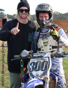 Colac teenager Luke Nowell overcame a wrist injury to win his first motocross state title. He is pictured with Jades Oates, head coach at Oates MX.