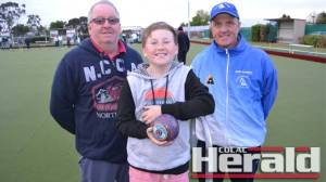 Lawn bowlers, from left, Heath and Grant McLaren, and Glenn Baudinette, are among recruits to join Corangamite bowls' reigning premier Colac this season. Winchelsea has also recruited well in the off-season.