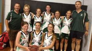 Colac's under-14 girls basketball team finished runner-up at a Horsham junior tournament. Pictured,  from back left, are team manager Tim Hassett, Isabelle Abraham, Taylah Hassett, Chloe Stewart, Annabelle Arnold,  Eliza Cahill and coach Greg Cahill. Front, from left, are Zara Walters, Tahlee McVilly and Meg Rippon.