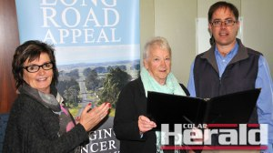 Colac Area Health Foundation's Karen Harvey, left, and Richard Riordan are pictured with Pam Radcliffe from the Colac Chorale which donated $3000 to the appeal, which has raised more than $290,000.