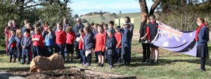 lvie Consolidated School pupils gathered to show respect for Anzac soldiers at a tree planting ceremony.