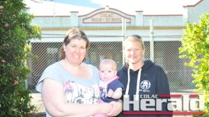 Karla Ackerley, pictured with Faith Ackerley, and Renee Wood have started a campaign encouraging the Education Department to take action on the former Colac High school site.