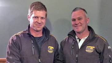 Apollo Bay club officials have announced that star footballer Marty White, left, and two-time premiership coach Craig Rippon will team up to co-coach the club's senior team in 2016.