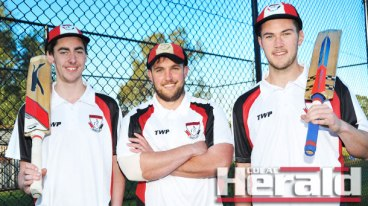 Birregurra cricket captain Rueben Dare, middle, will unleash recruits Sam Lowe, left, and Toby Sudweeks when the Saints and Apollo Bay kick off the Colac district season in a stand-alone match on Saturday. The clash, which coincides with the Birregurra Festival and Art Show, ends the Saints' 30-year absence from Division One.