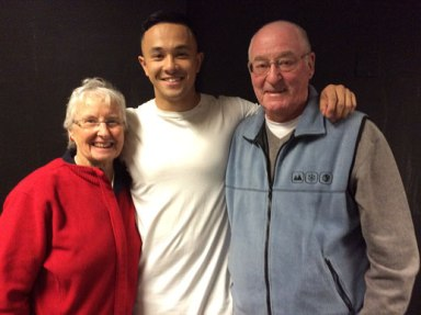 The X-Factor favourite Cyrus Villanueva, centre, is being cheered on by his Colac grandparents Nola and Alan Gray.