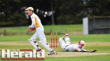 City United wicketkeeper Alex Inglis, left, celebrates the wicket of Alvie all-rounder Hayden Hickey, who was run out by City skipper Sam Cardinal, during the Colac-based club's commanding win over the reigning premier Swans at Eastern Reserve.