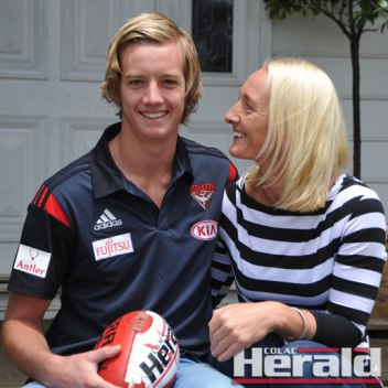 Wensleydale's Ange Parish congratulates her son Darcy after Essendon picked him up in the AFL Draft. Ange and her husband Glenn were with Darcy in Adelaide when Bombers coach John Worsfold read out Darcy's name.