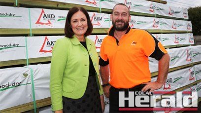 Corangamite MP Sarah Henderson visited AKD Softwoods chief executive officer Shane Vicary to announce a $3.5-million grant for the business.