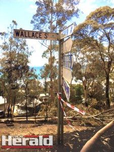 Residents went by bus to Wye River to see the destruction of the Christmas Day bushfire.