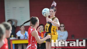 Apollo Bay goaler Taylah Schram, pictured, will lead the Hawks with new recruit Mel Tomlins in 2016.