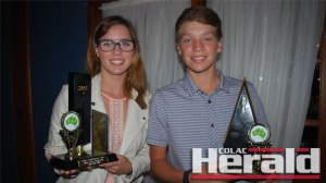 Athlete Amy Brauer, 18, and cricketer Josh Garner, 12, claimed the club's junior sports awards for 2015.