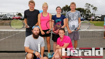 Pennyroyal defeated reigning premier Colac Lawn White to win Polwarth tennis's A Grade grand final. Pictured, from back left are Richard White, Rhiannon White, Nicole Beatty and Brendan White. Front, Sam Walker and Faith Parsons.