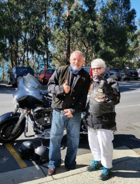 Geelong-based motorcyclist Jamie Dyson took Apollo Bay woman June Dunlop on a motorbike ride from Lorne to Apollo Bay to help her knock an item off her bucket list. June has terminal cancer and started ticking off challenges on a bucket list at the start of this year.