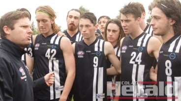 Nine Colac district footballers featured in the Geelong Falcons' latest win, including, from left with coach Andrew Allthorpe, Cassidy Parish, Zach Zdybel, Frazer O'Gorman and Ben McCarthy.