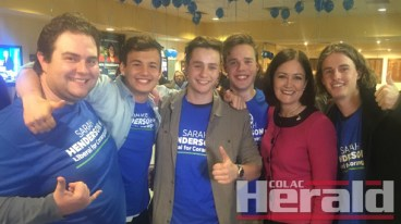 Member for Corangamite Sarah Henderson has won a second term in the seat. She is pictured on election night with members of the Young Liberals.