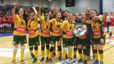 Leanne Scott, second from left, was crucial in the Australian Women's Dodgeroos team beating Austria in the final to claim their first Dodgeball World Cup Championship.