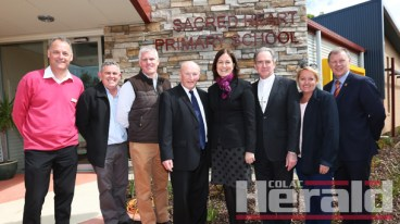 From left, primary education consultant Lee Schlooz, Sacred Heart principal Jack Lenaghan, Mick Mahoney, Father Michael O'Toole, Corangamite MP Sarah Henderson, Bishop Paul Bird, St Brendan's principal Anne Ruddell and Trinity College Colac principal Tim O'Farrell.