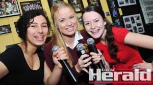 Trinity College band Sophisticated Swing members Yara Alkurd, Renee Karacsay and Emily Marsh.