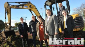 UNDERWAY: Pictured, from left, are Trinity College Colac Year 10 student Will Boddington, Spence Construction director Glenn McVilly, CAH community services director Marg White, CAH board director Tony Baldwin, Member for Corangamite Darren Cheeseman and CAH chief Geoff Iles at the site of Colac's Youth Health Hub.