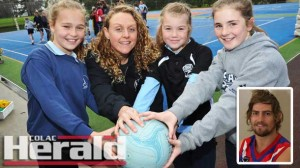 Lorne netballer Dionne Smith with Sienna Langdon, Taylah Hassett and Eliza Cahill during activities to help paralysed footballer Casey Tutungi, inset.