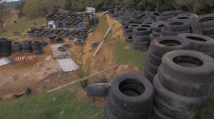 Tyres which will form the walls for Tony Webber's building.