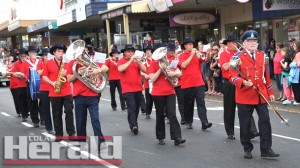 Colac City Band's marching musicians set the beat for Colac's annual Kana Festival parade.