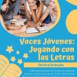 """Se impartirá el taller """"Voces jóvenes jugando con letras""""."""
