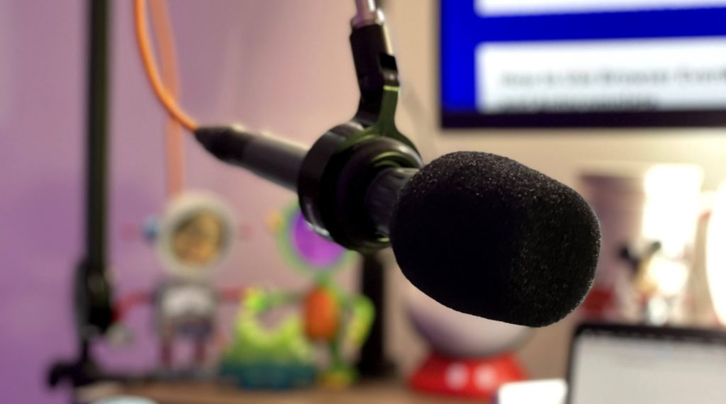 Microphone in front of desk