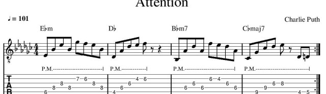Attention Charlie Puth guitar tab guitar tablature intro guitar lesson