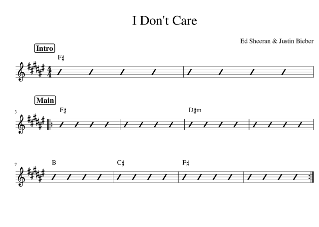 I Don't Care chords chord chart original key