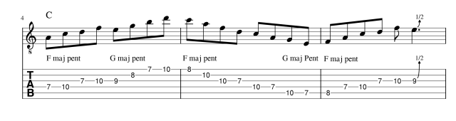 Mixing major pentatonic scales lick 2