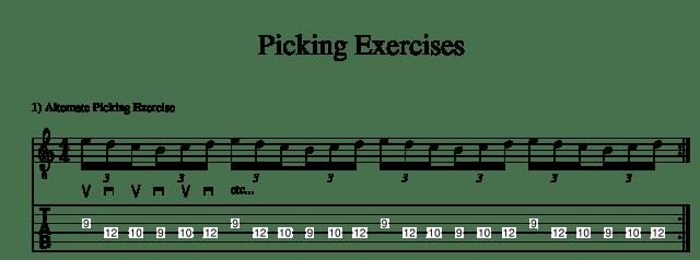 Alternate picking exercise guitar lesson