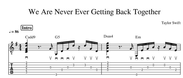 we are never ever getting back together taylor swift guitar tab guitar lesson