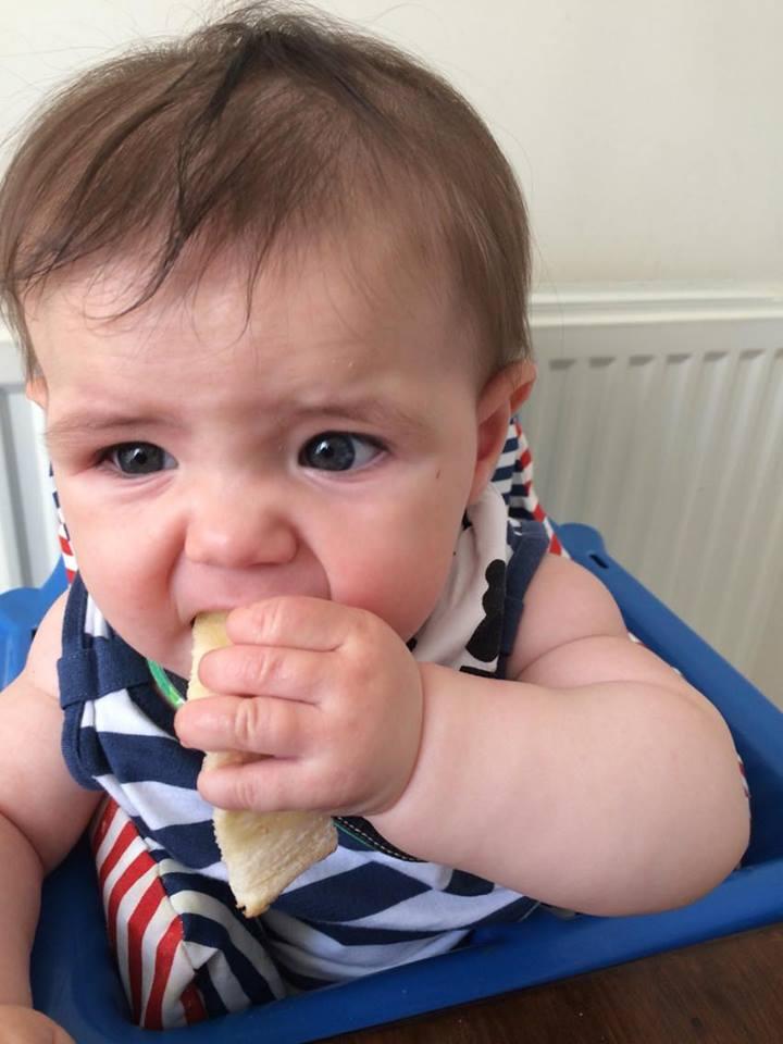 Baby Led Weaning - Megan enjoying some toast