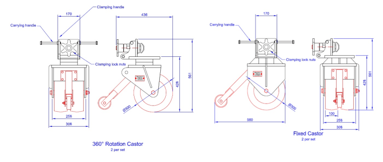 t24 shipping container castors drawings
