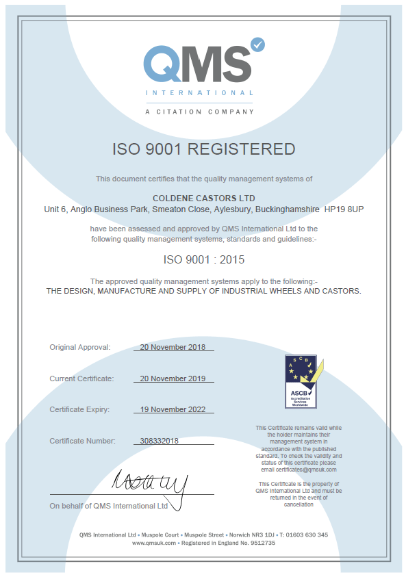 ISO Certification Coldene
