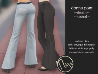 Neve Pant - Donna - Denim + Neutral