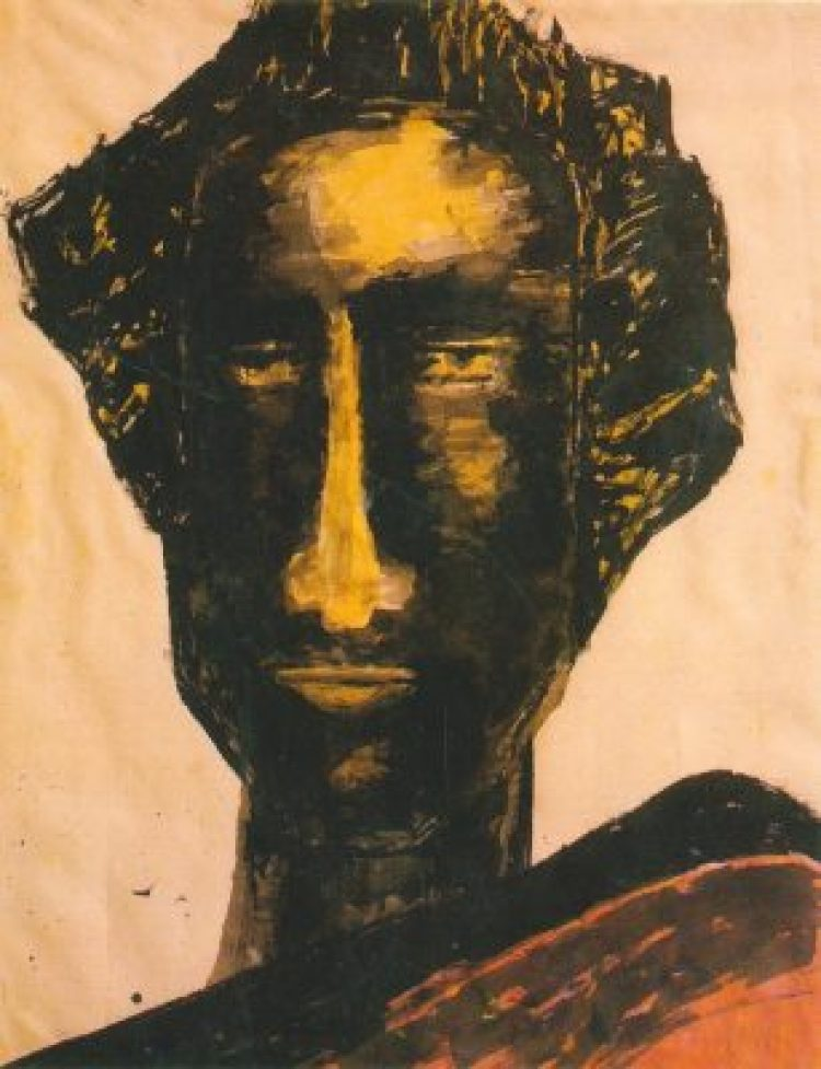 Rabindranath Tagore (1861-1941) - Head Study, Ink on silk, 42 x 53 cms, (Acc. No. 991), National Gallery of Modern Art, New Delhi