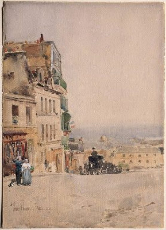 """View in Montmartre, Paris,"" by Hassam Childe (1889)"